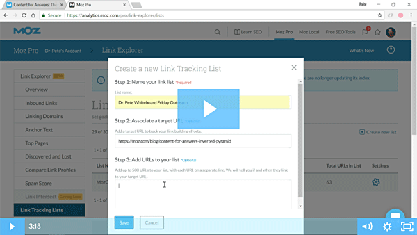 Tracking Your Link Prospecting Using Lists in Link Explorer
